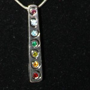 Silver Bar Rainbow Necklace